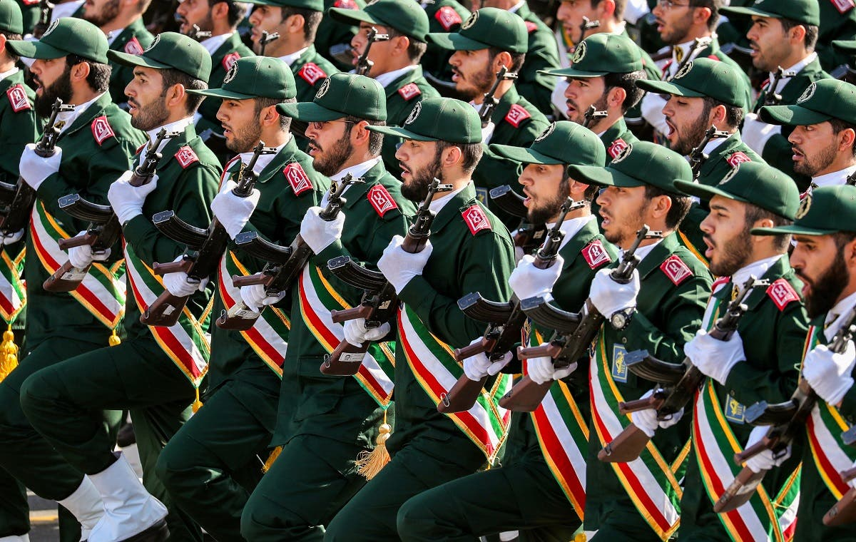 Members of Iran's Revolutionary Guards Corps (IRGC) march during an annual military parade. (AFP)