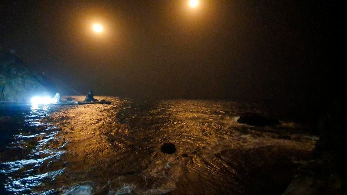 In this photo provided by South Korea Fire Service Headquarters, search and rescue operations are underway in waters following the crash of an ambulance helicopter near the South Korea-controlled islets of Dokdo in waters between the Korean Peninsula and Japan, Friday, Nov. 1, 2019. (AP)