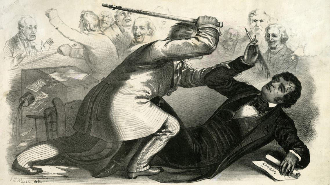لوحة تخيلية تجسد حادثة الإعتداء بالضرب على السيناتور تشارلز سومنر