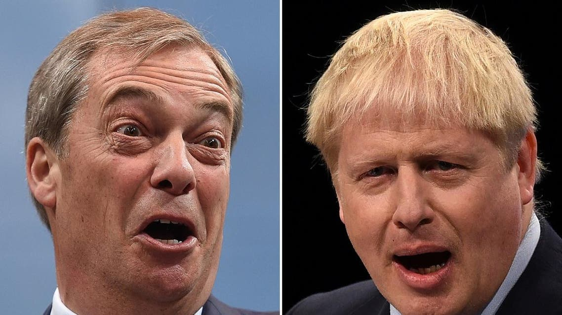 A combination of pictures created in London on November 1, 2019 shows Britain's Prime Minister and Conservative Party leader Boris Johnson (R) and Brexit Party leader Nigel Farage (L) giving speeches. (AFP)