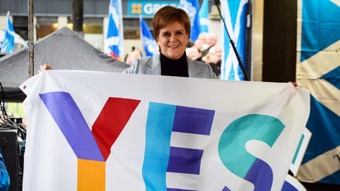 Scottish Nationalist Party (SNP) leader Nicola Sturgeon, Scotland's First Minister gestures after she addresses a rally calling for Scottish independence in Glasgow on November 2, 2019. (AFP)