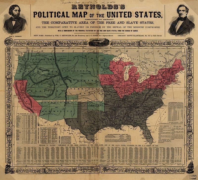 خريطة تظهر تقسيم مناطق الولايات المتحدة الأميركية سنة 1854 بين مؤيد و مناهض للعبودية