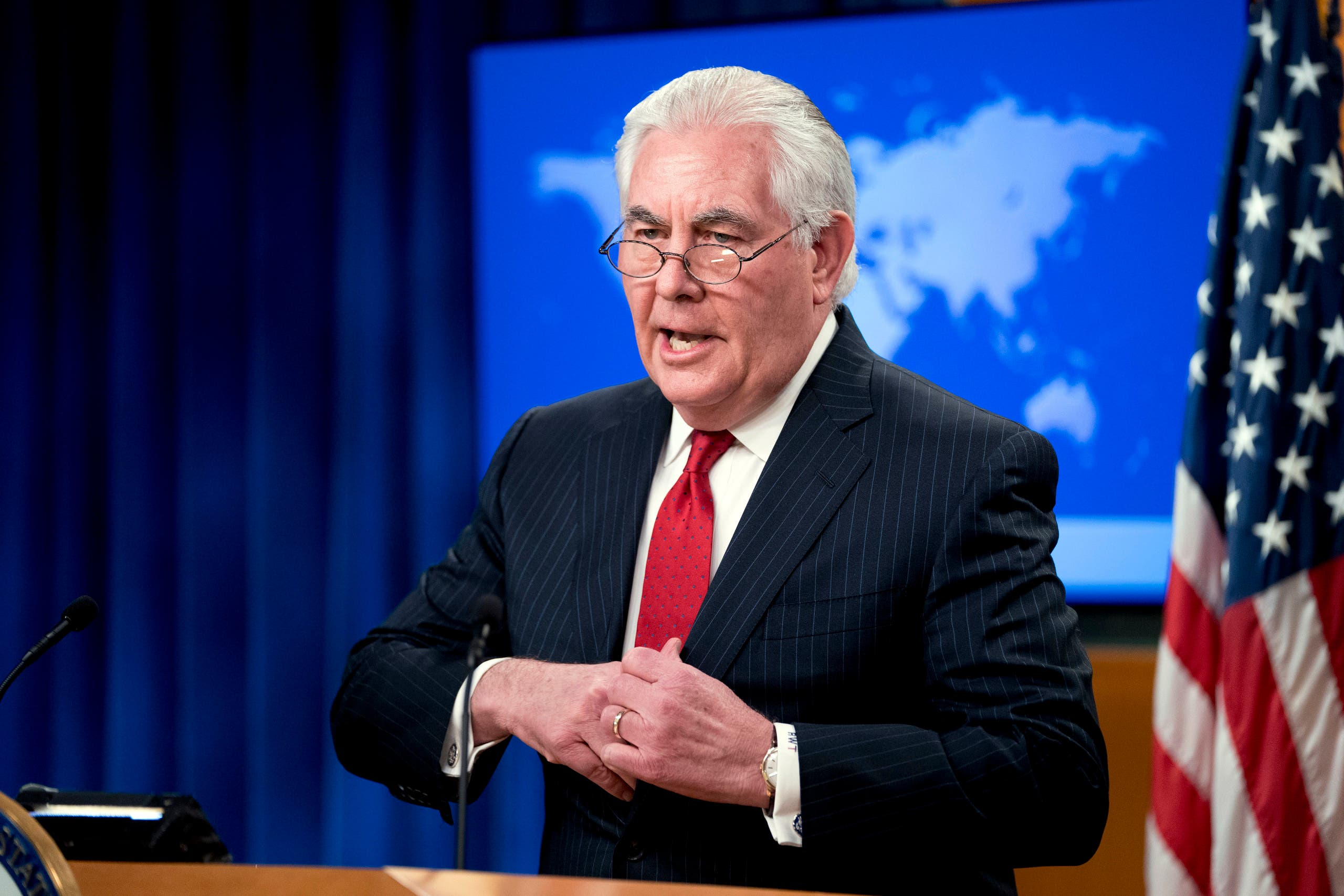 Secretary of State Rex Tillerson speaks at a news conference at the State Department in Washington, Tuesday, March 13, 2018. (AP)