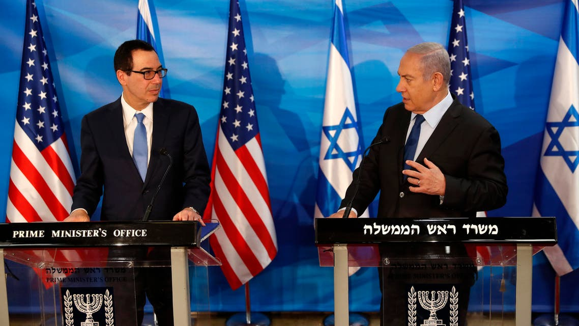 Israeli Prime Minister Benjamin Netanyahu and U.S. Treasury Secretary Steven Mnuchin deliver joint statements during their meeting in Jerusalem, Monday, Oct. 28, 2019. (Ronen Zvulun/Pool Photo via AP)