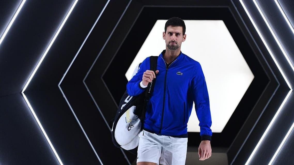 Novak Djokovic arrives ahead of his match against Grigor Dimitrov during their men's singles semi-final tennis match at Paris Masters on November 2, 2019. (AFP)