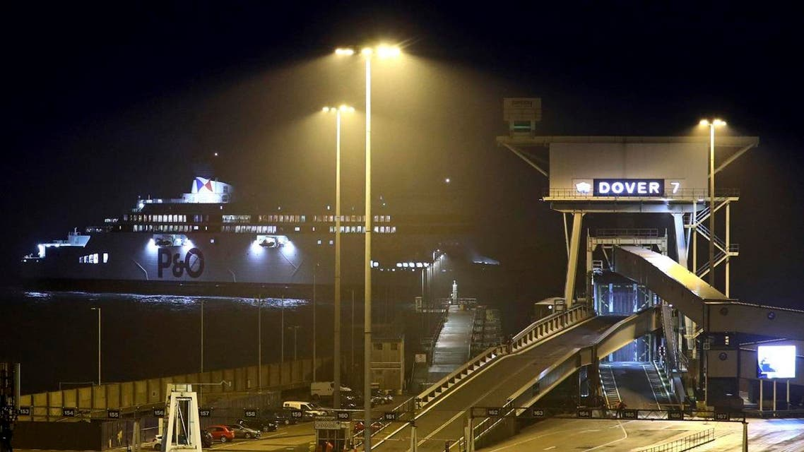 A passenger ferry arrives at the Port of Dover in Dover, southern England, early on November 1, 2019. (AP)