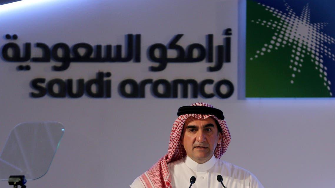 Yasser al-Rumayyan, Saudi Aramco's chairman, speaks during a news conference in Dhahran.