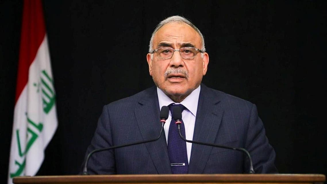 Iraqi Prime Minister Adel Abdul Mahdi gives a televised speech in Baghdad,Iraq October 9, 2019. Iraqi Prime Minister Media Office/Handout via REUTERS