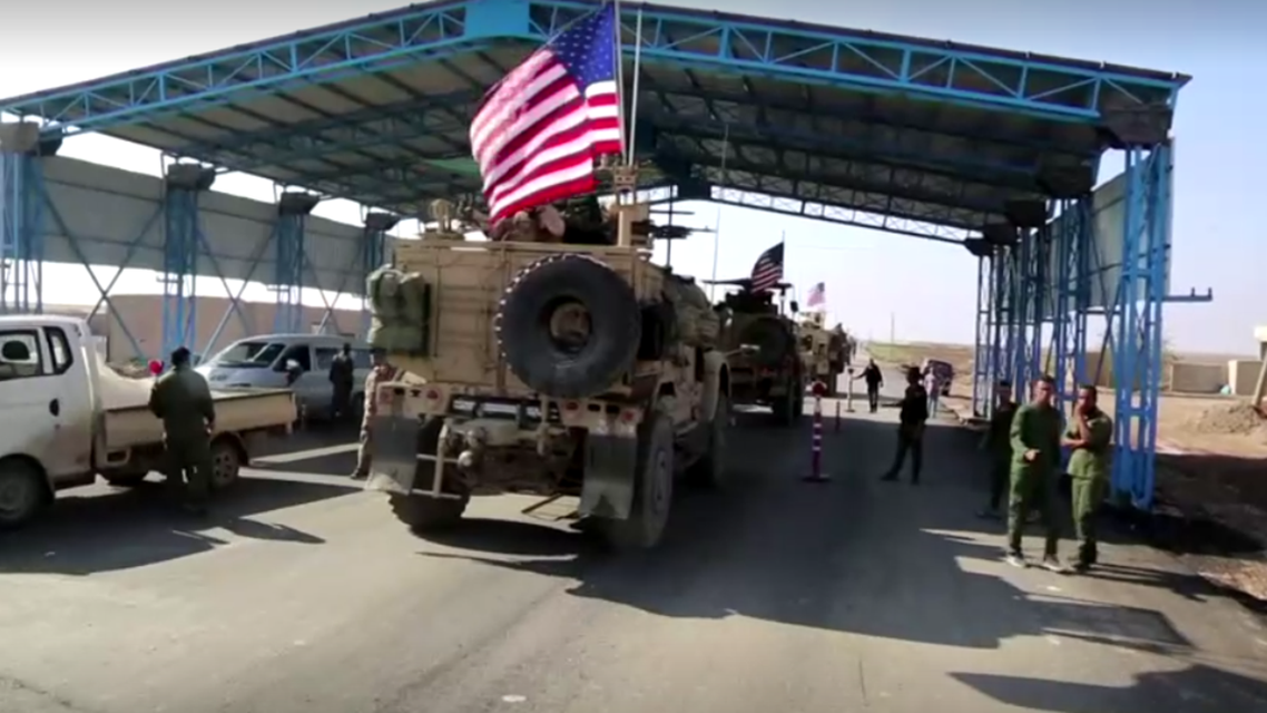U.S. military convoy seen patrolling Syrian border town of Qahtaniyah on October 31, 2019. (Reuters)