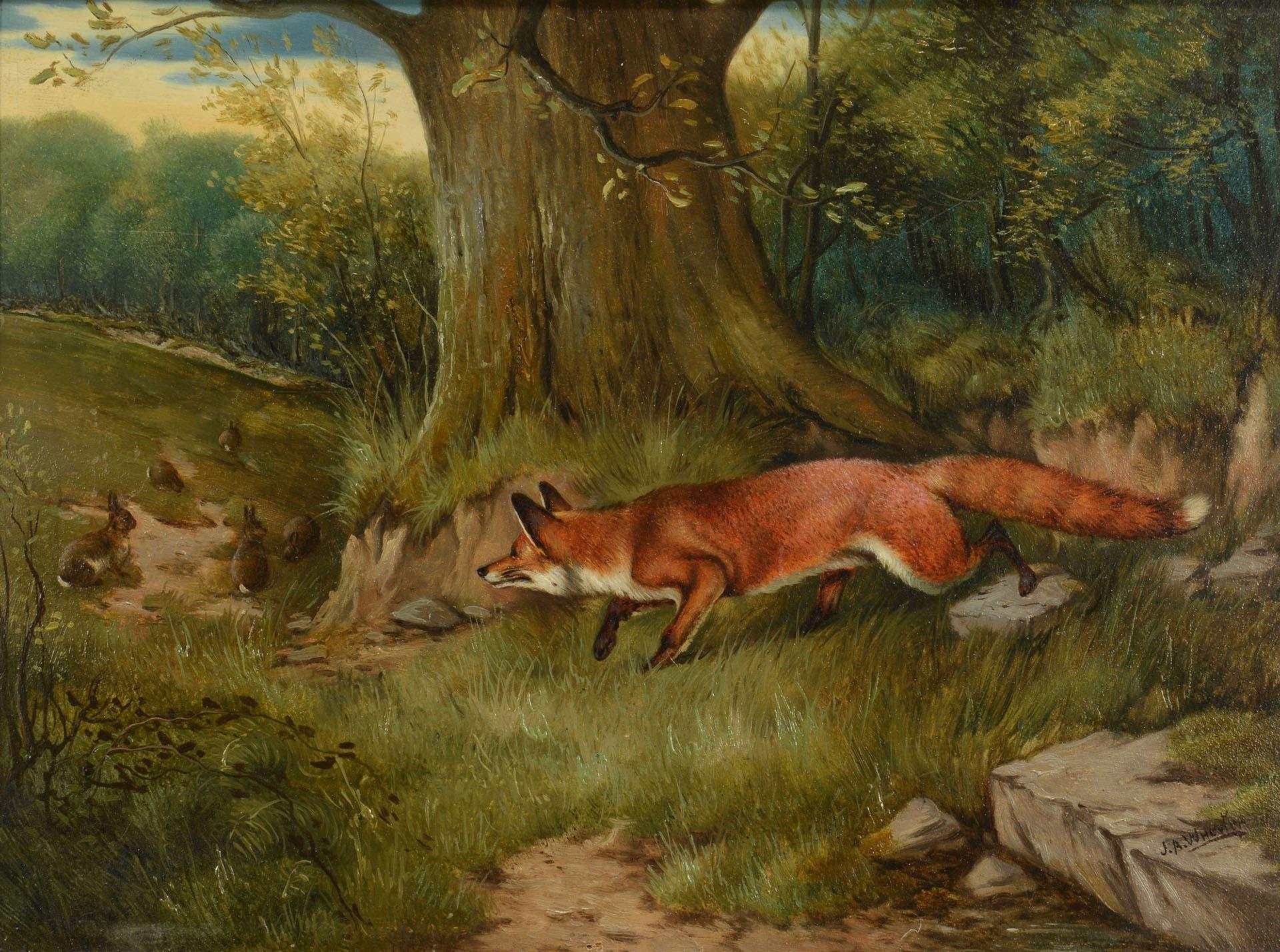 لوحة زيتية تجسد أحد الثعالب الحمراء