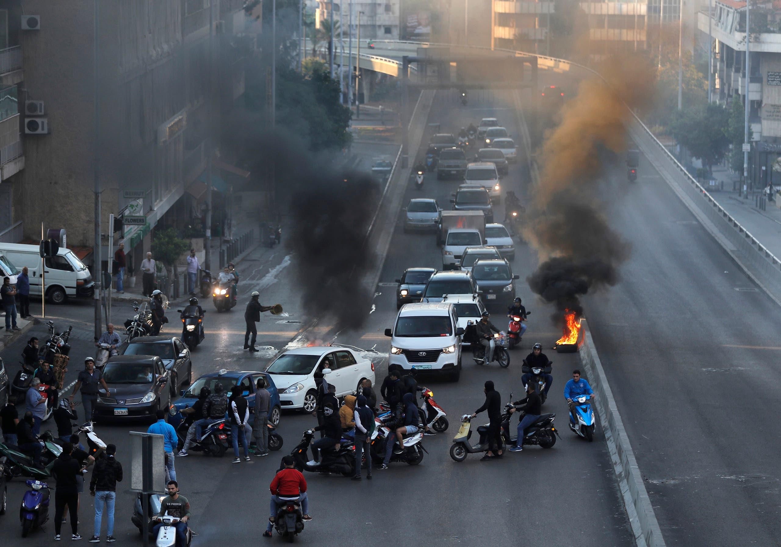 قطع طريق رئيسي في بيروت اليوم