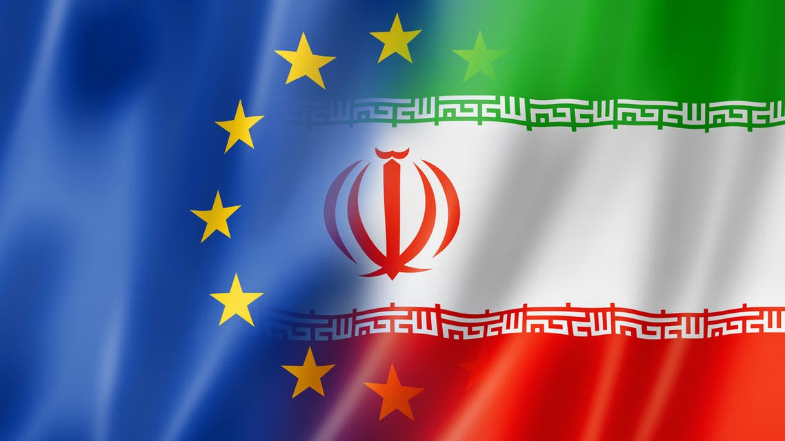 europe european union iran flag flags stock photo