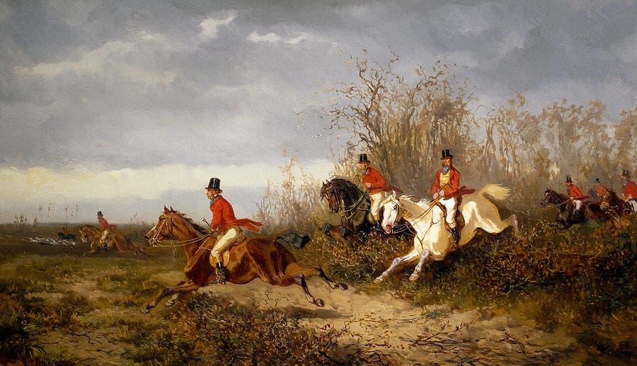 لوحة تجسد عدداً من الإنجليز خلال ممارستهم صيد الثعالب