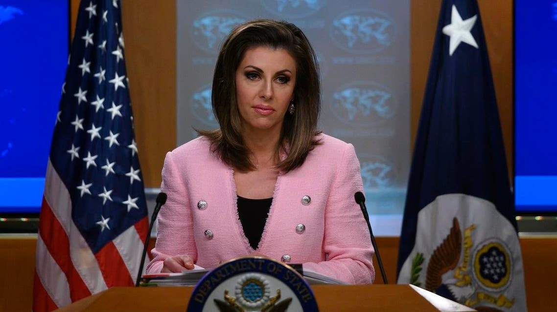 US State Department spokesperson Morgan Ortagus stands at the lectern during a press conference at the US Department of State in Washington, DC on June 10, 2019. (AFP)
