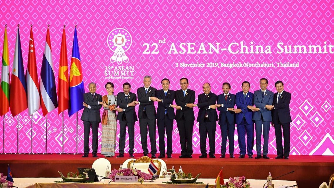 A group photo during the 22nd ASEAN-China Summit in Bangkok on November 3, 2019, on the sidelines of the 35th Association of Southeast Asian Nations (ASEAN) Summit. (AFP)