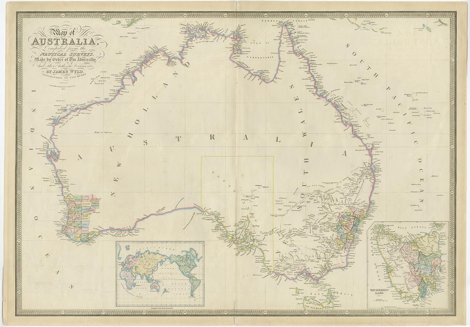 خريطة أستراليا في حدود العام 1850