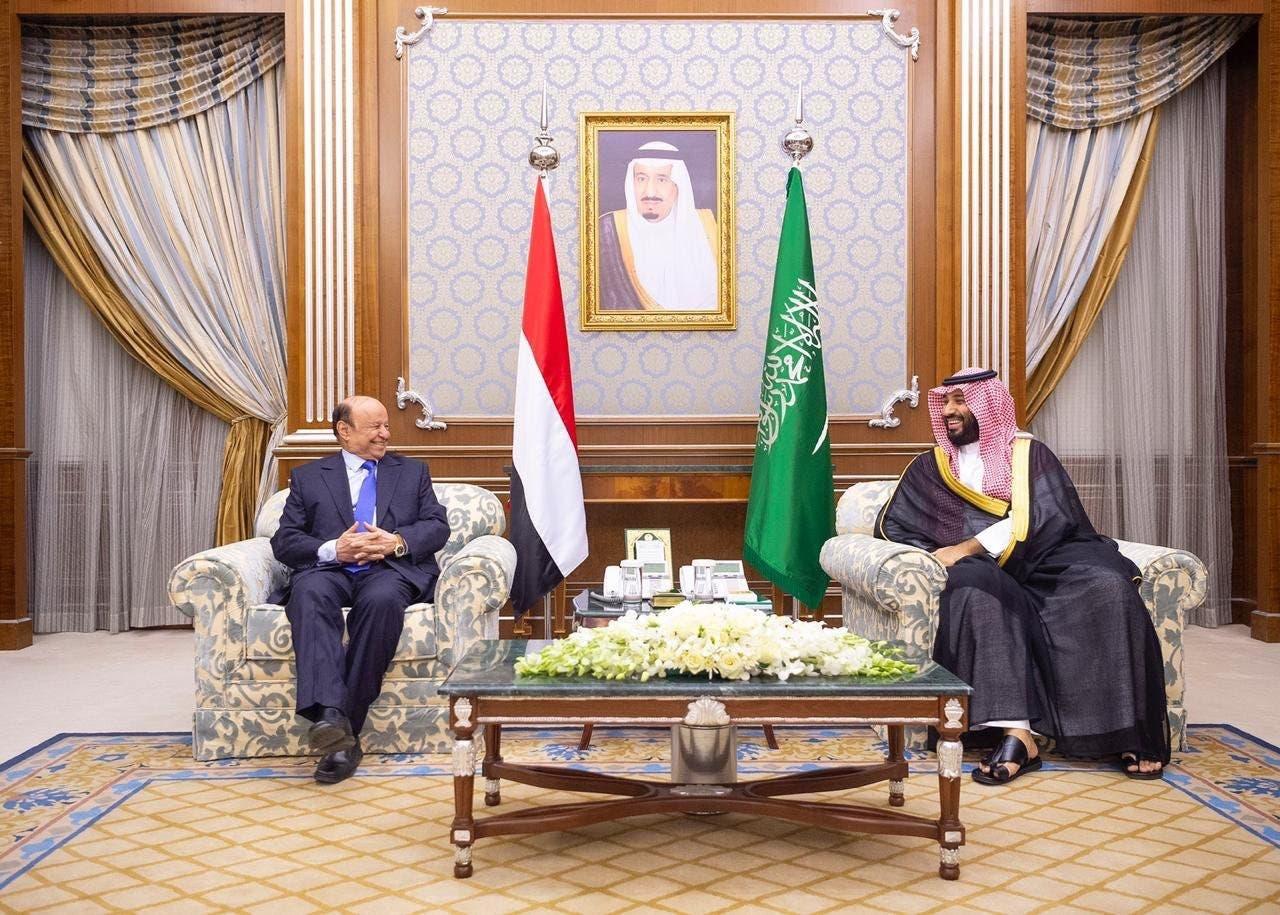 الأمير محمد بن سلمان مع الرئيس اليمني