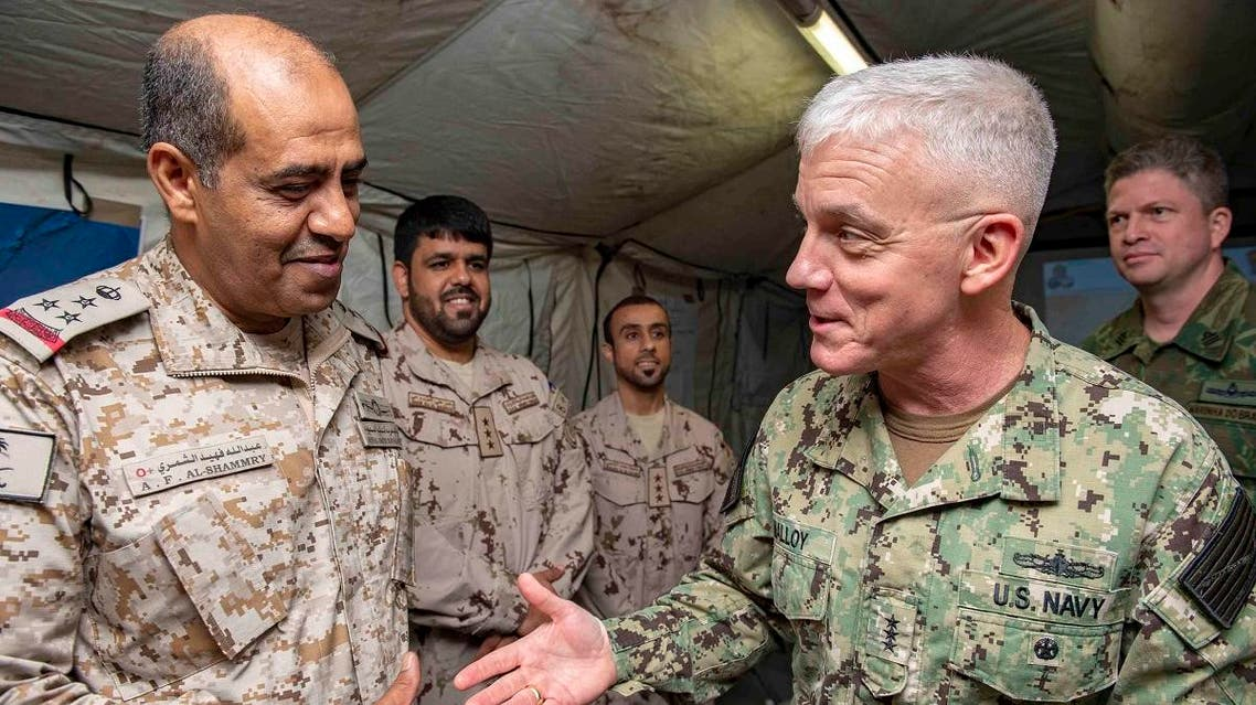 Vice Adm. James Malloy (right), commander, US Naval Forces Central Command, US 5thFleet, Combined Maritime Forces, greets Rear Adm. Abdullah Al-Shammary, Royal Saudi Naval Forces, during the International Maritime Exercise 2019 (IMX 19). (Supplied)