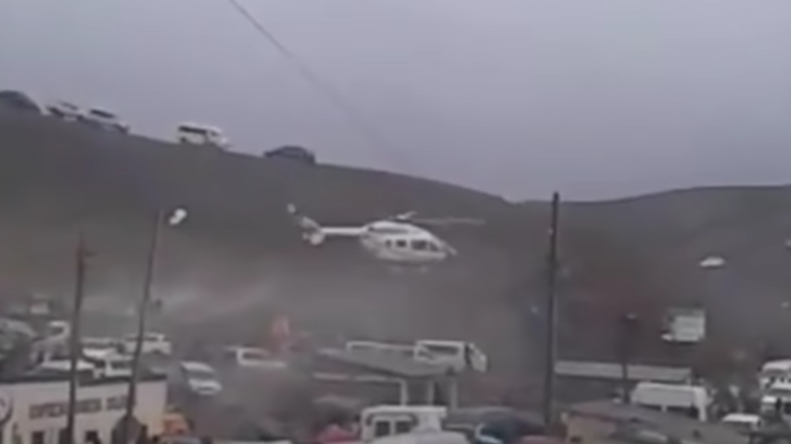A helicopter carrying Bolivia's President Evo Morales made an emergency landing Monday due to a mechanical problem. (Screengrab)