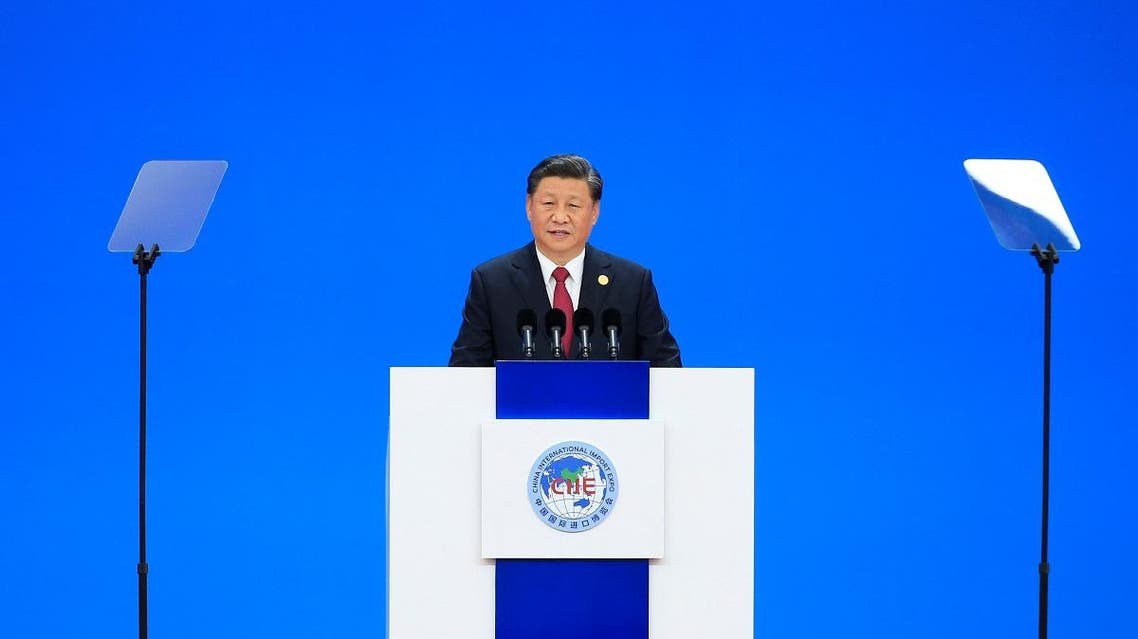 Chinese President Xi Jinping delivers a speech at the opening ceremony of the second China International Import Expo (CIIE) in Shanghai, China November 5, 2019. REUTERS