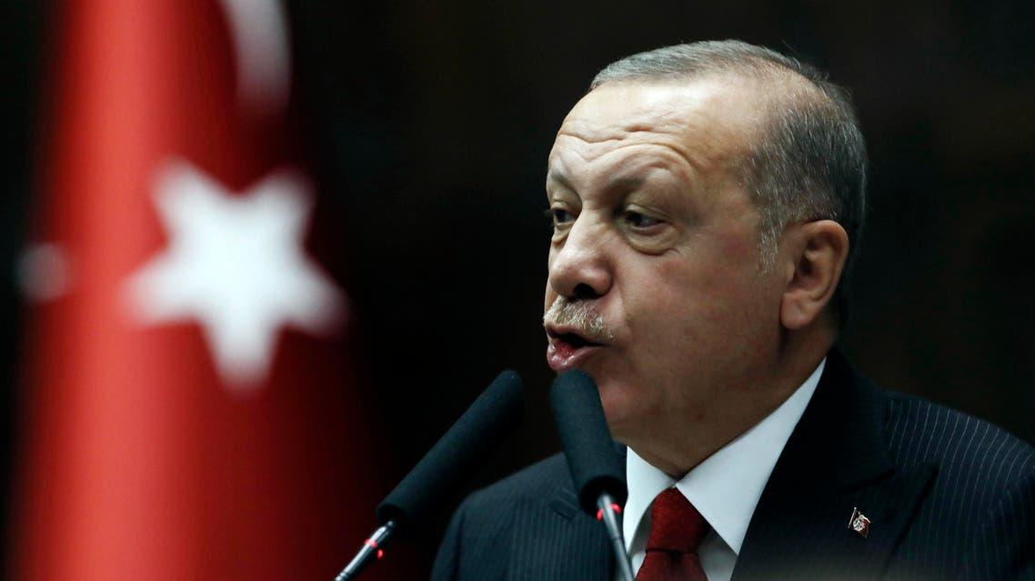 Turkish President Erdogan addresses his ruling party legislators at the Parliament in Ankara. (Photo: AP)