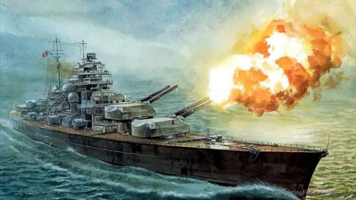 رسم تخيلي للسفينة الألمانية بسمارك