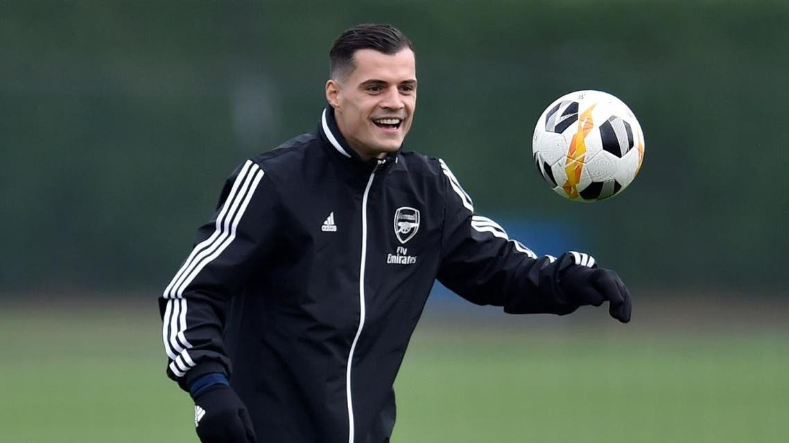 Europa League - Arsenal Training - Arsenal Training Centre, St Albans, Britain - November 5, 2019 Arsenal's Granit Xhaka during training Action Images via Reuters/