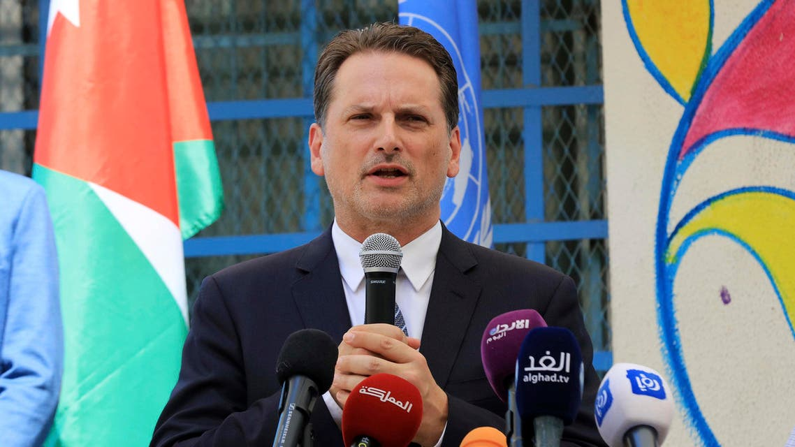 Pierre Krahenbuhl, Commissioner-General of the United Nations Relief and Works Agency for Palestine Refugees (UNRWA), attends a ceremony to mark the return to school at one of the UNRWA schools at a Palestinian refugee camp Al-Wehdat, in Amman, Jordan, Sunday, Sept. 2, 2018. (AP Photo / Raad Adayleh)