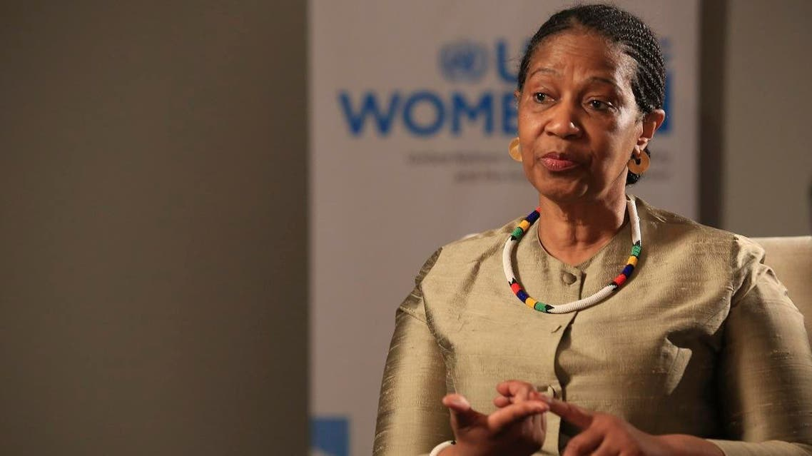 Phumzile Mlambo-Ngcuka, United Nations Under-Secretary-General and Executive Director of U.N. Women, speaks during an interview with The Associated Press in Sarajevo, Bosnia-Herzegovina, Tuesday, Nov. 5, 2019. (AP)