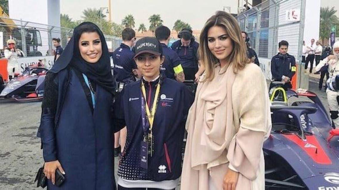 Carla DiBello with the first female board member of the Saudi Arabian Motor Federation Aseel Al Hamad and first Emirati female racing driver Amna Al Qubaisi. (Supplied)