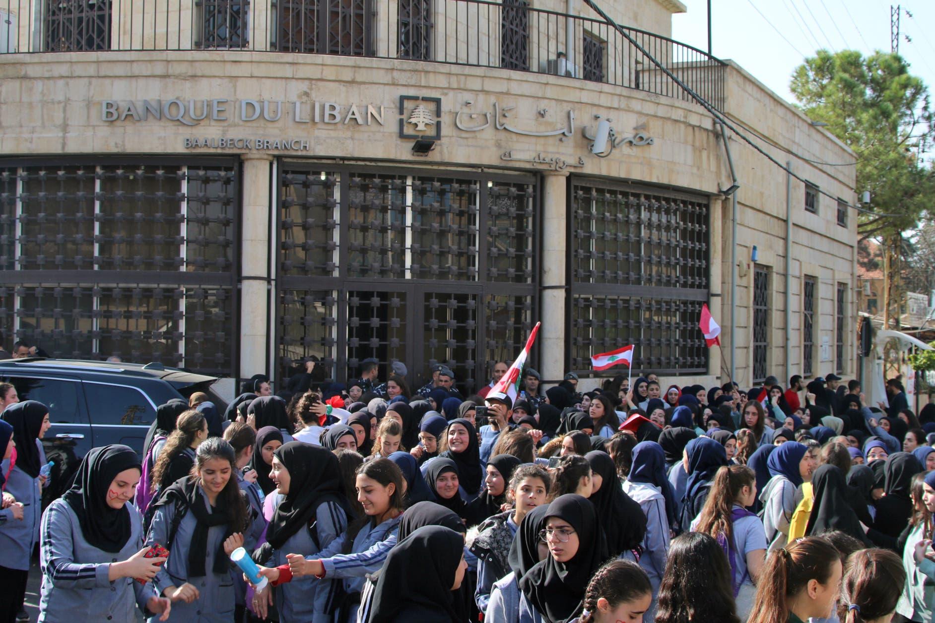 من التظاهرات الطلابية في لبنان(7 نوفمبر- فرانس برس)