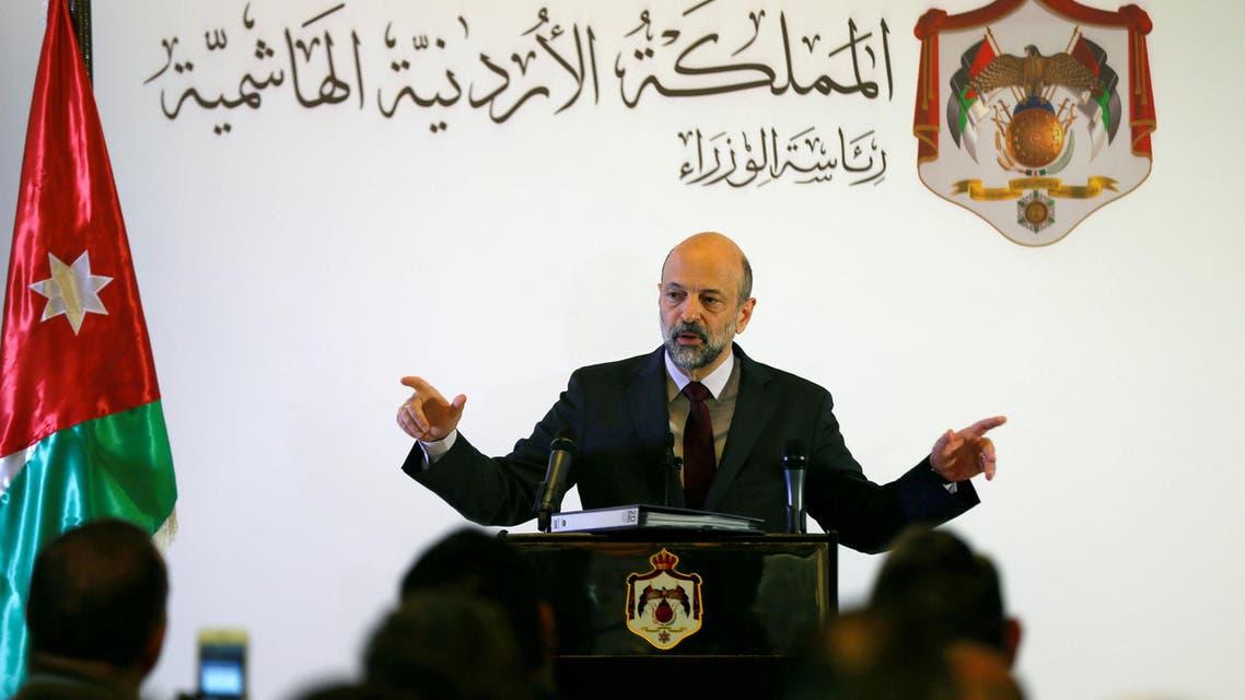 Jordan's Prime Minister Omar al-Razzaz speaks to the media during a news conference in Amman, Jordan April 9, 2019. REUTERS