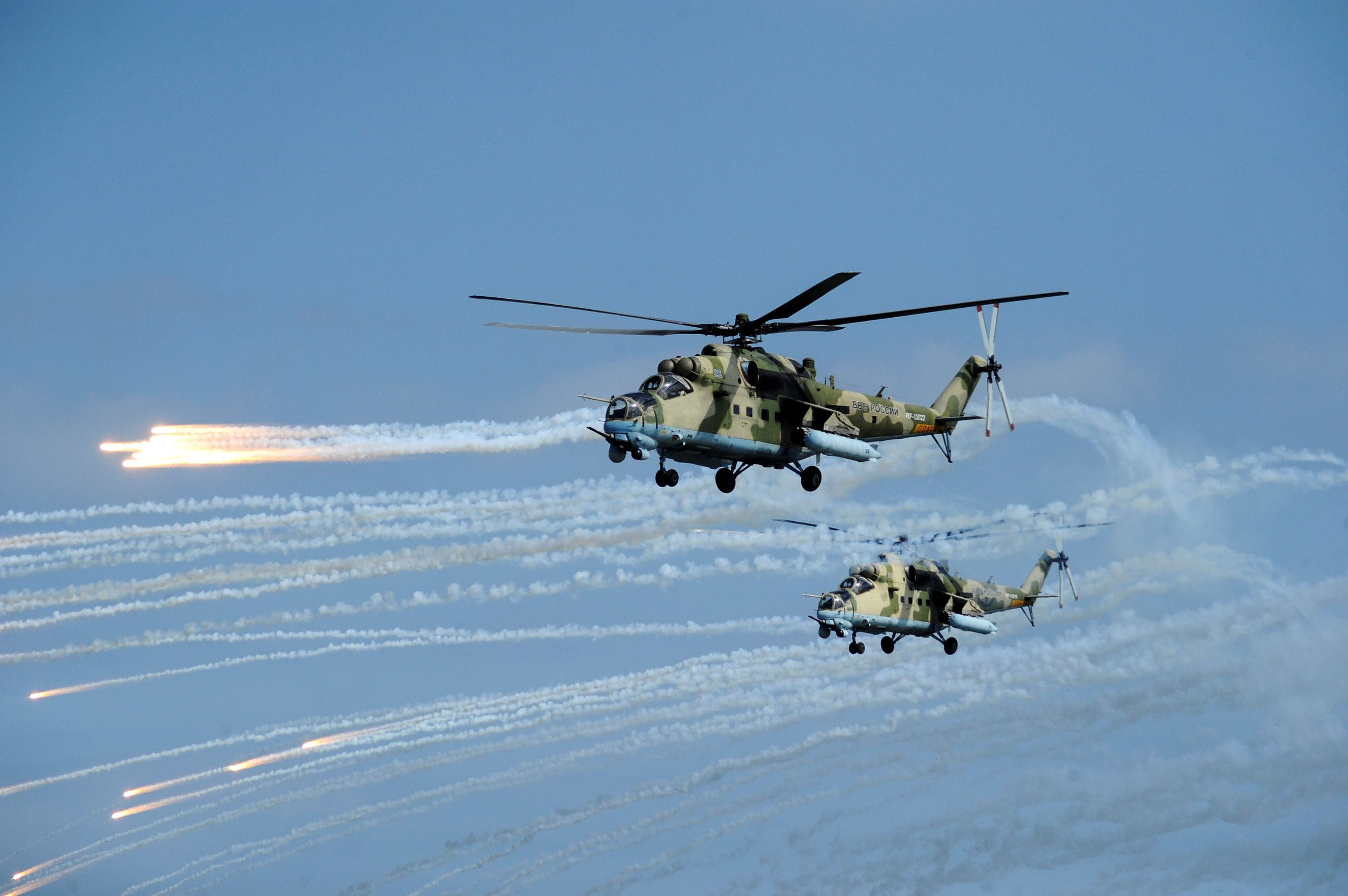 File photo of Russian Mi-35 helicopters fire during military exercises in Dagestan. (Reuters)