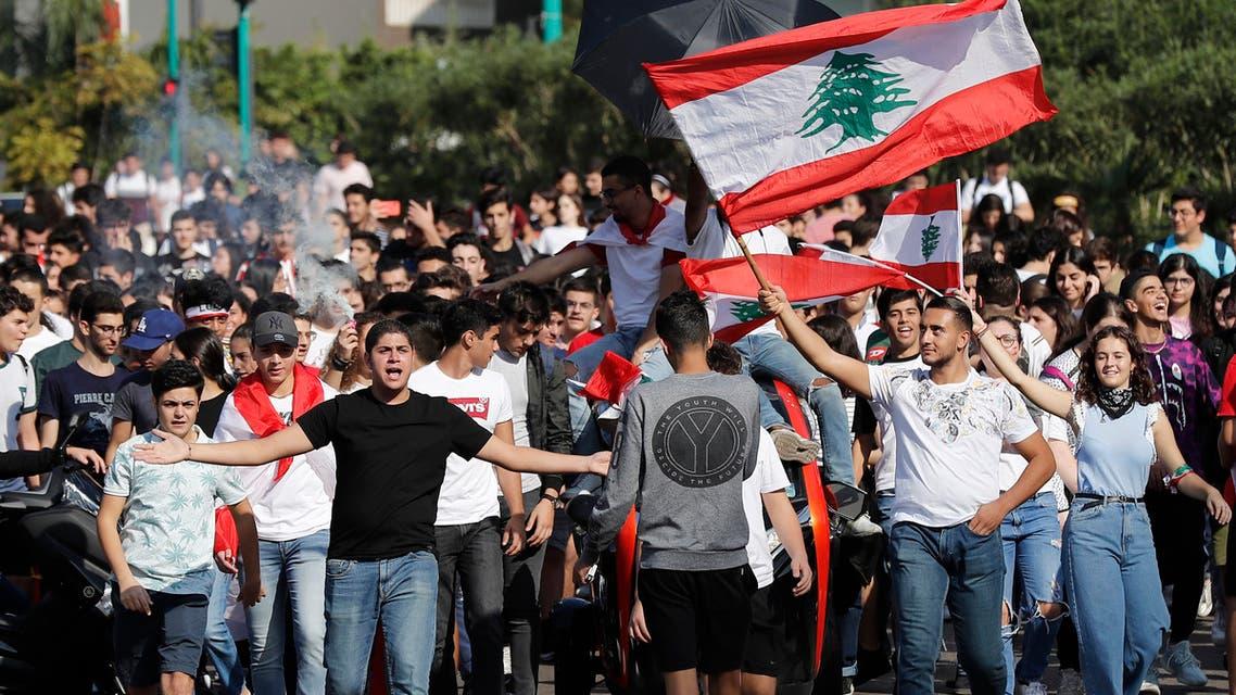 من احتجاجات التلاميذ لبنان