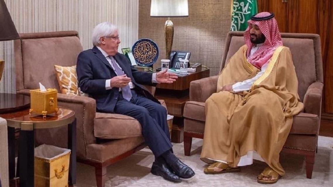 Saudi Arabia's Crown Prince Mohammed bin Salman bin Abdulaziz with Martin Griffiths, Special Envoy of the United Nations Secretary-General for Yemen in Riyadh on Thursday. (SPA)