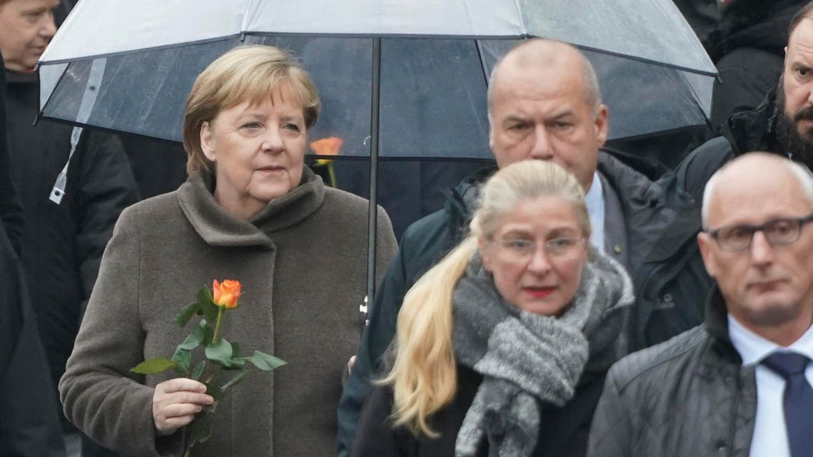 German chancellor Angela Merkel arrives to a commemoration ceremony to celebrate the 30th anniversary of the fall of the Wall in Berlin. (Photo: AP)