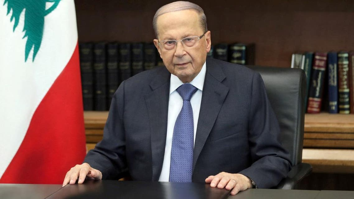 Lebanon's President Michel Aoun is pictured as he addresses the nation at the Baabda palace, Lebanon October 24, 2019. (Reuters)