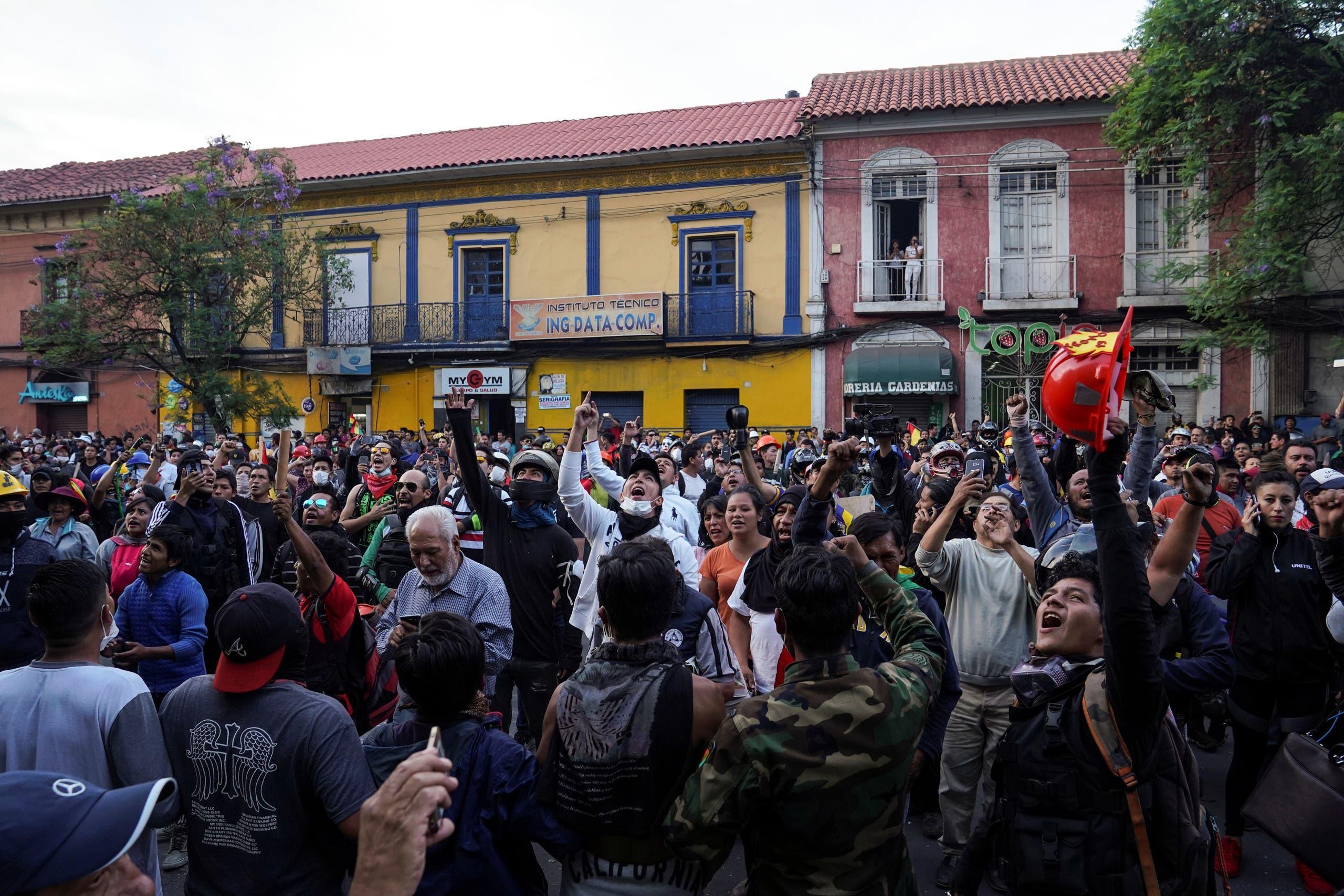 من الاحتجاجات في بوليفيا ضد الرئيس موراليس
