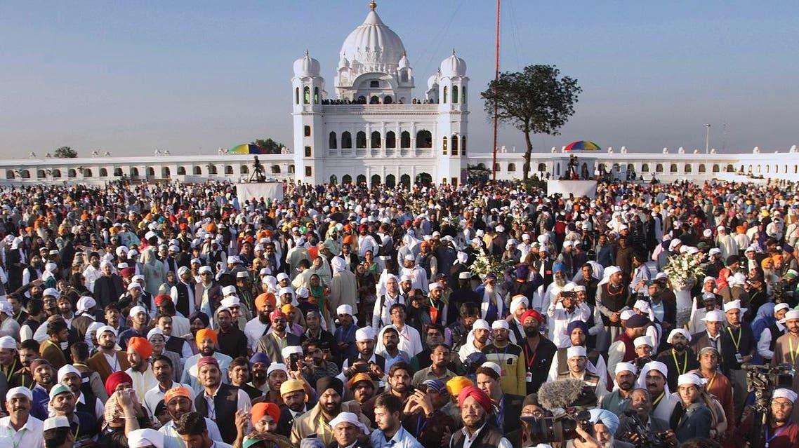 Sikh pilgrims visit the shrine of their spiritual leader Guru Nanak Dev, at Gurdwara Darbar Sahib in Kartarpur, Pakistan. (AP)