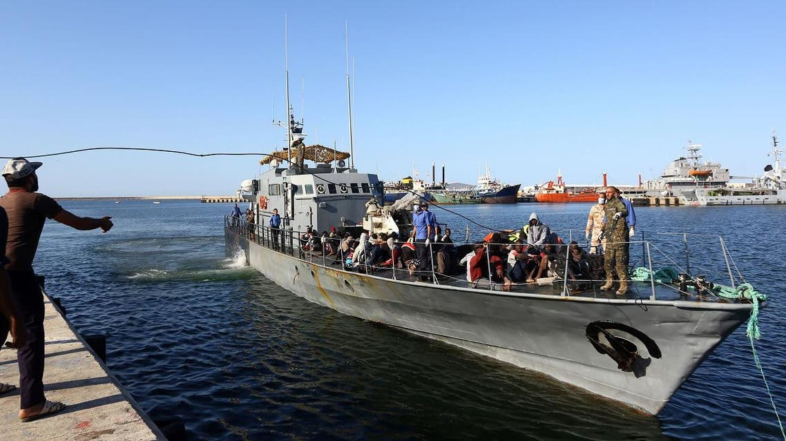 African migrants arrive at a naval base in the Libyan capital Tripoli on October 11, 2017, after they were rescued from a rubber boat by coastguards off the Libyan coast of Sabratha. (File photo: AFP)