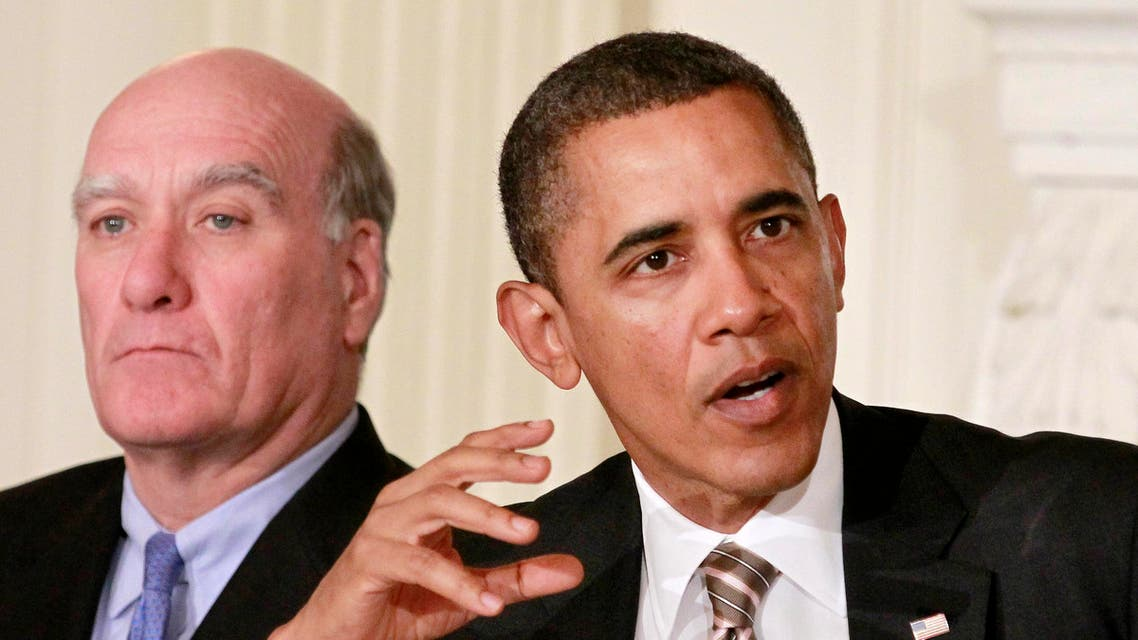 President Barack Obama, seated with outgoing White House Chief of Staff Bill Daley, gestures while meeting with the Council on Jobs and Competitiveness, Tuesday, Jan. 17, 2012 (AP)