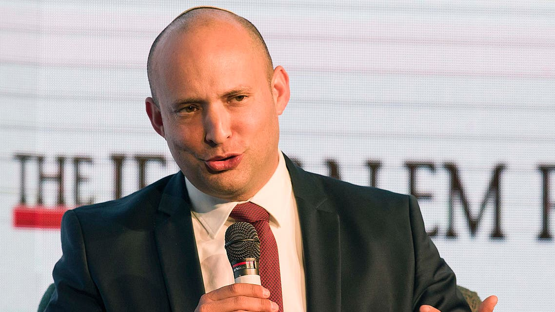 In this Wednesday, Dec. 6, 2017 photo, Israeli Eduction Minister Naftali Bennett speaks during a conference in Jerusalem (AP)