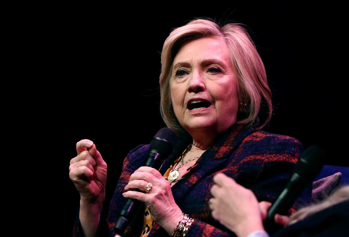 Former US Secretary of State Hillary Clinton speaks during an event promoting The Book of Gutsy Women at the Southbank Centre in London. (Reuters)