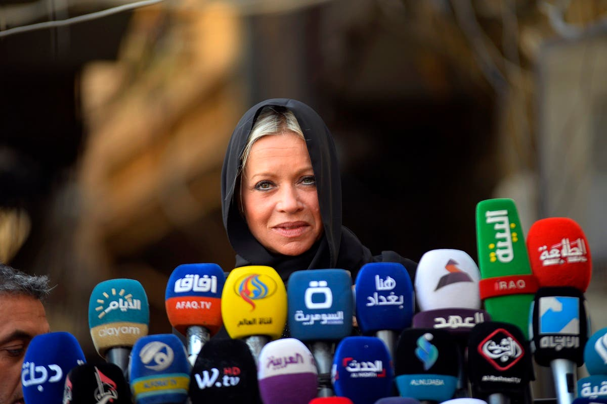 Jeanine Hennis-Plasschaert, UN Special Representative for Iraq and Head of the United Nations Assistance Mission for Iraq (UNAMI), speaks during a press conference following a meeting with Iraqi Shiite cleric Grand Ayatollah Ali al-Sistani in Iraq's holy city of Najaf on November 11, 2019. (AFP)