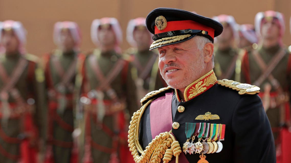 Jordan's King Abdullah II, reviews an honor guard before giving a speech to Parliament in Amman, Jordan, Sunday, Nov. 10, 2019. (AP)