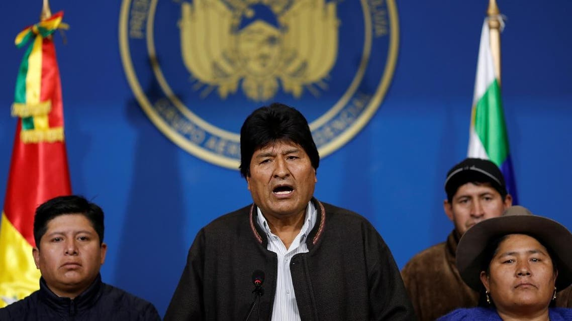 Bolivia's President Evo Morales addresses the media at the presidential hangar in the Bolivian Air Force terminal in El Alto, Bolivia. (Reuters)
