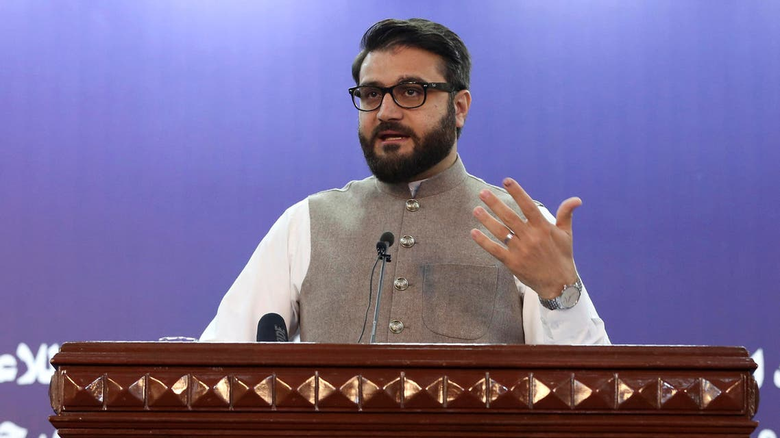 Afghanistan's National Security Adviser Hamdullah Mohib speaks during a news conference in Kabul, Afghanistan, Tuesday, Oct. 29, 2019. (AP)