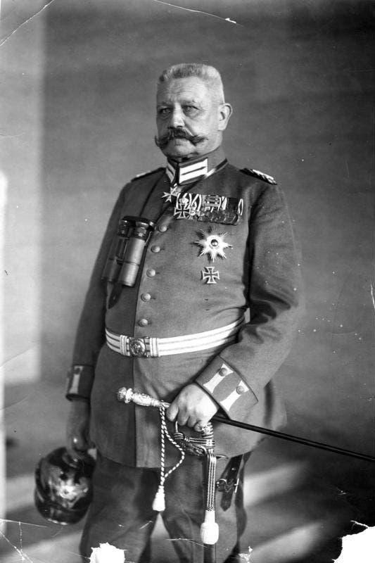 صورة للجنرال الألماني فون هيندنبورغ
