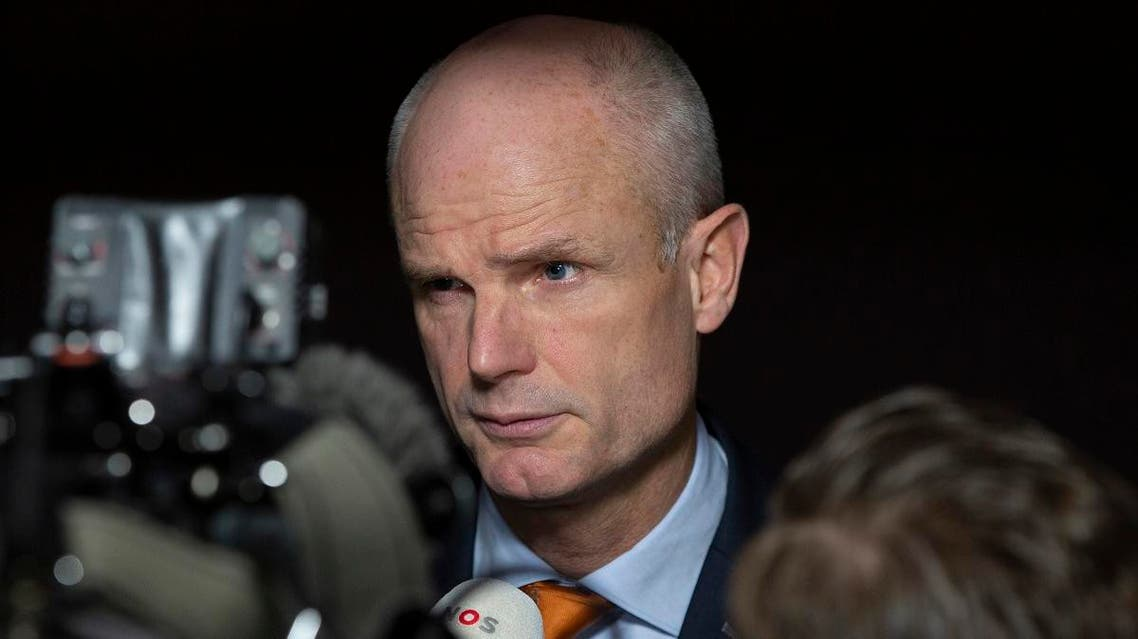 Dutch Foreign Minister Stef Blok speaks with the media as he arrives for a meeting of EU foreign ministers at the European Convention Center in Luxembourg, Monday, Oct. 14, 2019. (AP)