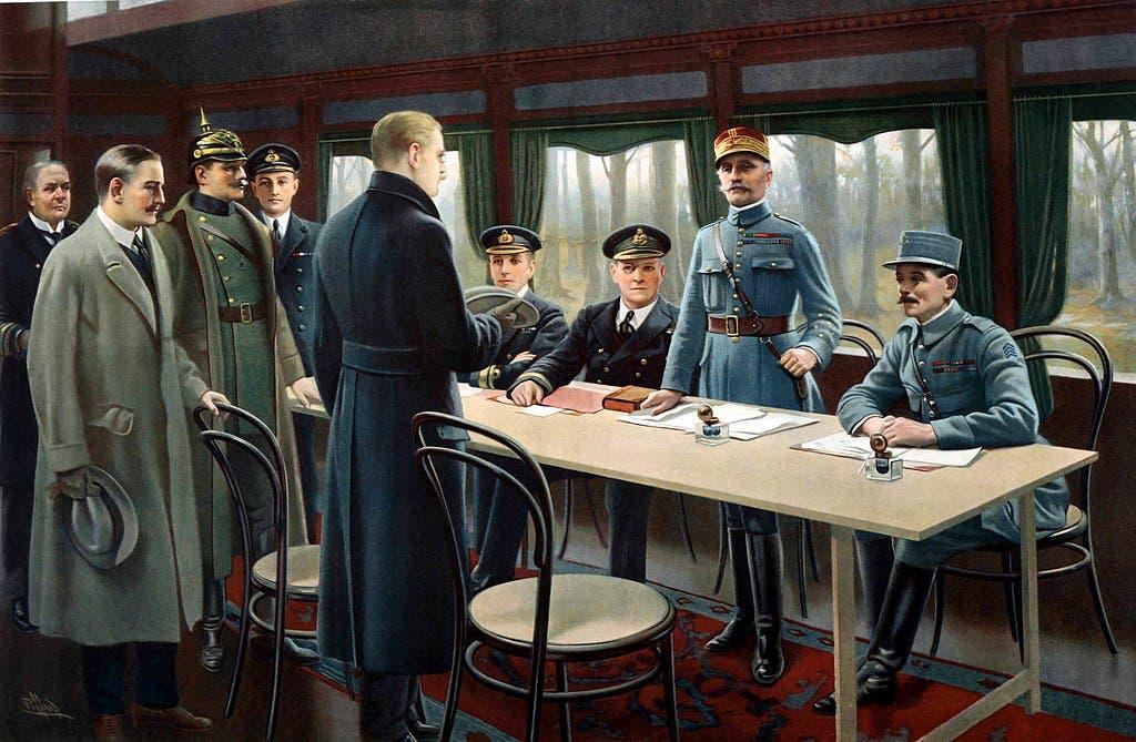 لوحة زيتية تجسد عملية التوقيع على الهدنة و يظهر فيها أرزبيرغر وهو مرتد لمعطفه الأسود وواقف أمام وفد الحلفاء